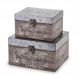 Dřevěná krabička Adventure tmavá - střední