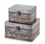 Dřevěná krabička Adventure tmavá - malá