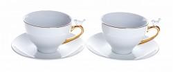 Šálek romantik - bílo-zlatá keramika s ptáčkem - 2ks