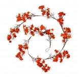 Girlanda podzimní drobné kvítky - oranžová - 150 cm