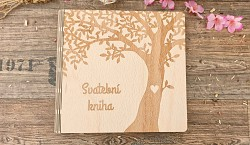 Svatební kniha hostů čtverec - dřevěná - strom