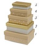 Dárková krabice obdélník kraft/bílá/zlatá - vel.2