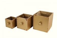 Dřevěný šuplík hranatý - zlatý - 9x9x9cm