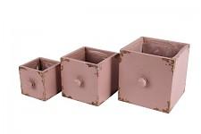 Dřevěný šuplík hranatý - starorůžový - 15x15x15cm