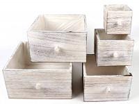Dřevěný šuplík hranatý - starorůžový - 12x12x12cm