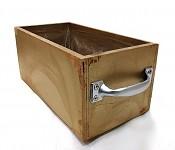 Dřevěný truhlík zlatý s uchy - 23 cm