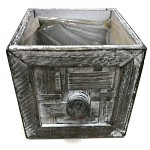 Dřevěný šuplík hranatý - šedá patina - 15x15x15cm