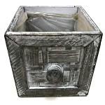 Dřevěný šuplík hranatý - šedá patina - 12x12x12cm