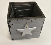 Dřevěný šuplík hranatý - šedý s hvězdou - 12x12x12 cm