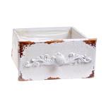 Dřevěný šuplík hranatý - šedý s hvězdou - 10x10x10 cm