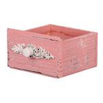 Dřevěný šuplík hranatý - vintage bílý - 12x12x12 cm