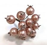 Bobulky zápich 15mm - pudrově růžové perleťové - 12 ks