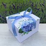Krabička na výslužku hranatá se stuhou - modré hortenzie