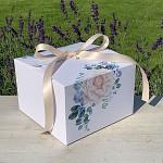 Krabička na výslužku hranatá se stuhou - čajová růže