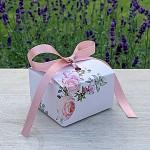 Krabička na výslužku hranatá se stuhou - pastelové květy - malá