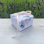 Krabička na výslužku hranatá se stuhou - čajová růže - malá