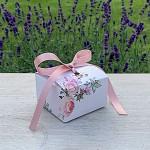 Krabička na cukrovinky hranatá se stuhou - pastelové květy - mini