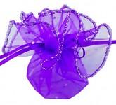 Mošnička fialová organzová se stříbrným lemem - 22 cm