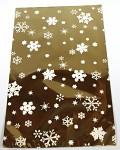 Celofánový sáček - zlato-bílý  s vločkami 15x25 cm