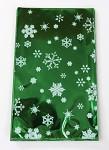 Celofánový sáček - zeleno-bílý  s vločkami 15x25 cm