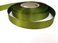 Saténová stuha oboulící - travní zelená - 15 mm - 1m