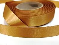 Saténová stuha oboulící - okrová - 10 mm - 1m