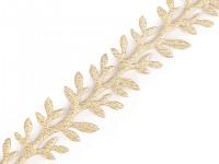 Saténový prýmek s lístky vánoční - zlatý - 1 m
