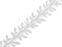 Saténový prýmek s lístky vánoční - stříbrný - 1 m
