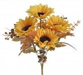 Kytice slunečnic s podzimními listy