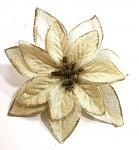 Květ poinsettia 14 cm  - zlatý