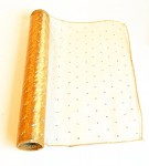Organza šerpa - zlatá s třpytivými tečkami - 35cm/9m