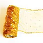 Organza stuha - zlatá s třpytivými tečkami - 12cm/9m