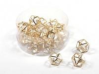 Dekorační kamínek s krystalem - zlatý - 1ks