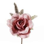 Růže lososová glitr se snopem větviček - 18 cm
