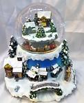 Koule vánoční vesnice - hrající, svítící, točící