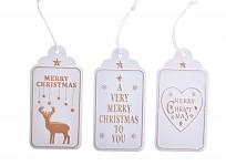 Vánočníí visačky na dárky plechové - bílo-zlaté - mix - 3 ks