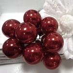 Baňky na drátku vínové 25 mm - 1ks - lesklé