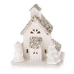 Vánoční domeček keramický - svítící kostelík se Santou - malý
