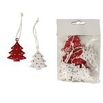 Vánoční závěs kovový - stromeček červeno-bílý