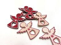 Anděl - mini dřevěný se srdíčkem - červená/krémová - 6ks