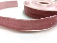 Sametová stuha 25 mm - růžová se třpytkami  -  1 m