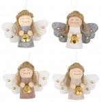 Anděl se zvonečkem 55 mm - šedá/hnědá/bílá - 1ks