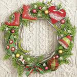 Ubrousky vánoční pletené - věnec s bruslemi