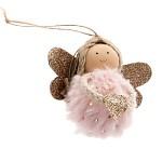 Anděl kožešinová kulička - sv.růžový