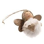 Anděl kožešinová kulička - bílý