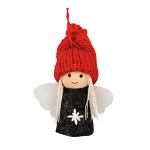Anděl s pletenou čepicí 8 cm - červeno-šedý
