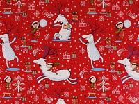 Balicí vánoční papír - 70cm x 2m - červený se sobíky