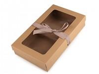 Dárková krabička natur s průhledem a stuhou - 17 x 28 cm