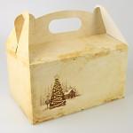Krabička na vánoční cukroví s ouškem - 20x13x11 cm -  krémová
