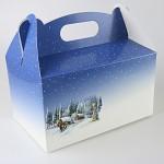 Krabička na vánoční cukroví s ouškem - 20x13x11 cm - zimní krajina